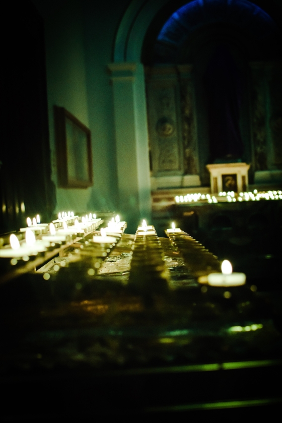 Candles in a Church in Ireland