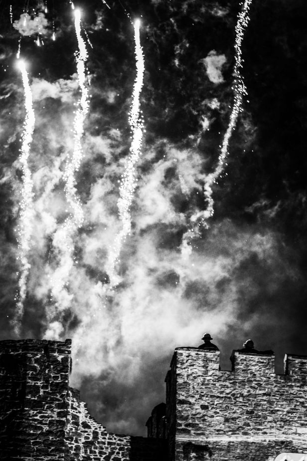 Halloween Fireworks go off in the town of Swords Dublin Ireland. Firemen kept everyone safe