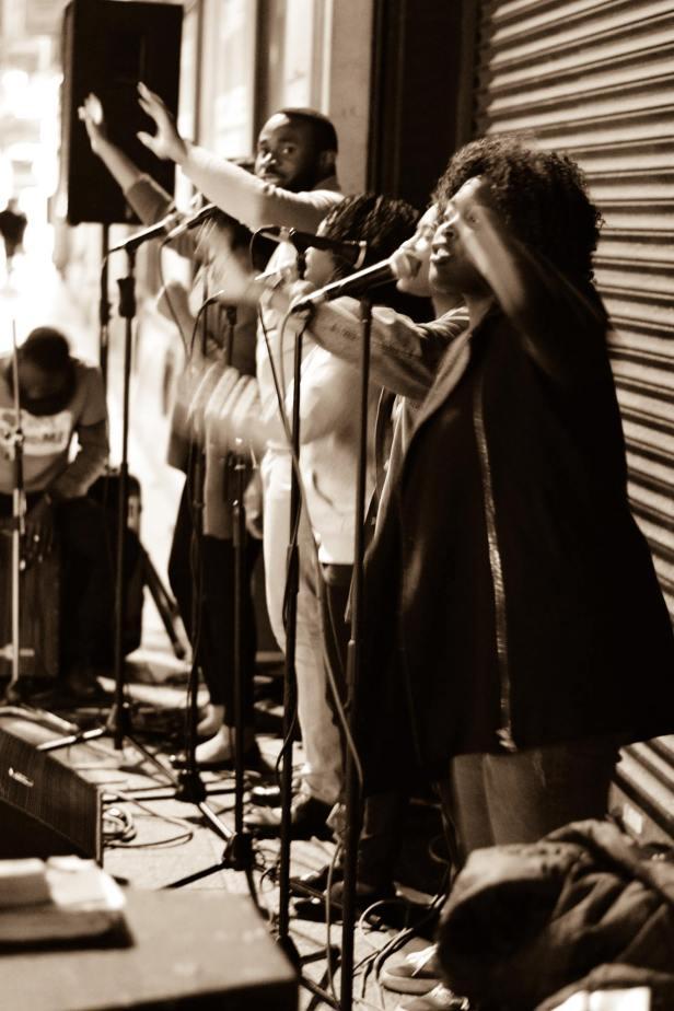 Gospel singing on O'Connell Street in Dublin Ireland