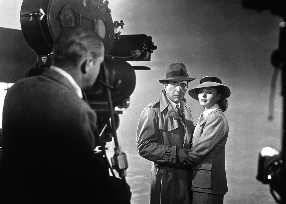 Bogart and Bergman stand for a publicity shot for Casablanca