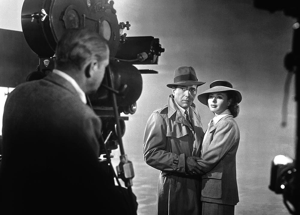 Bogart and Bergman stand for a publicity shot for Casablanca