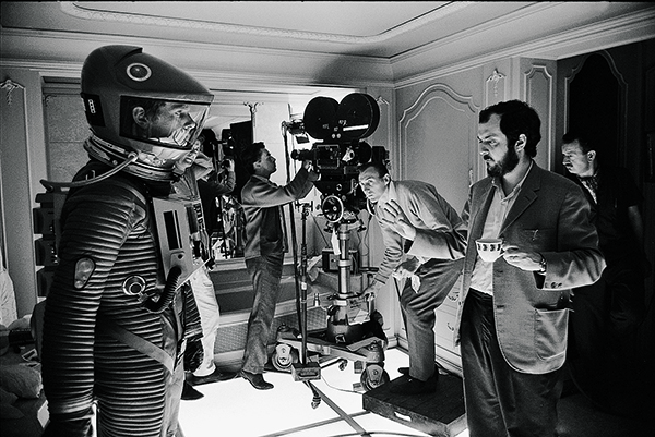 Kubrick on set in the film 2001 A Space Odyssey